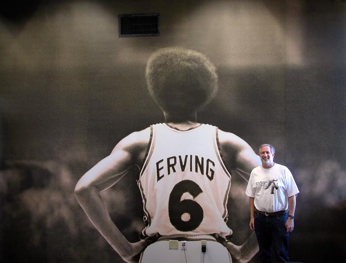 Wall size Julius Erving photograph by Larry Berman